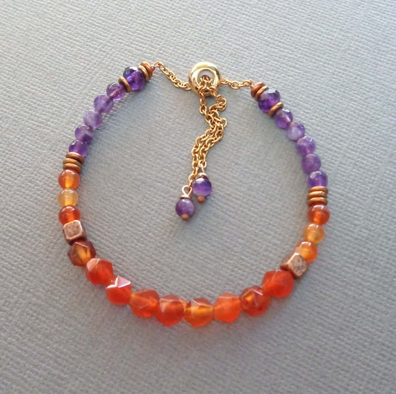 Carnelian and Amethyst Beaded Bracelet / Root Chakra Stone / Colorful Jewelry / Wildflower Happy Colors