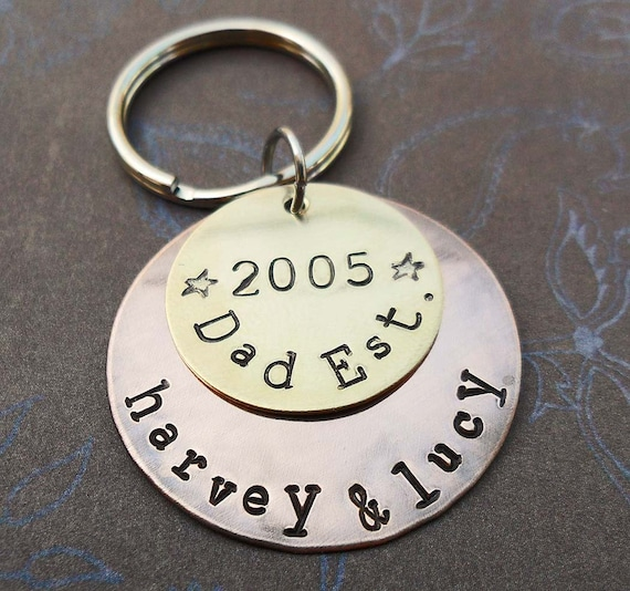 Dad Est Keychain - Personalized Grandpa Dad Keychain -Father Dad Papa - Hand-Stamped Custom Names