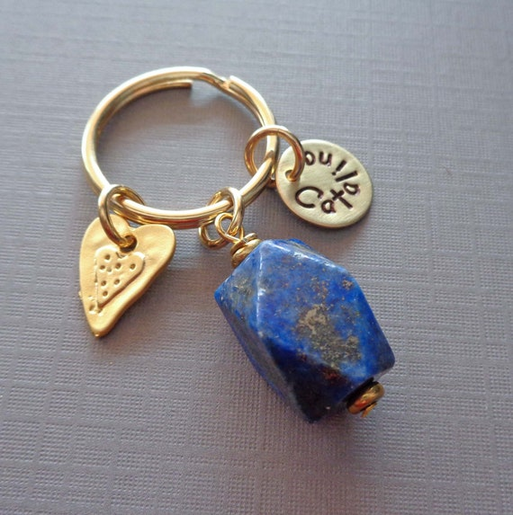 Lapis Lazuli Personalized Keychain / Heart Charm Gold Lapis / Friendship Gift / Stress Relief Stone / Third Eye Chakra