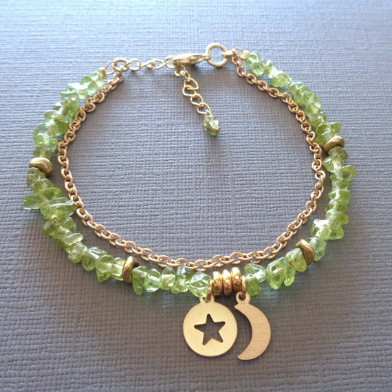 Peridot Gold Bracelet / August Birthstone Gift / Peridot Chips Moon Star / Green Stone Jewelry //GE65