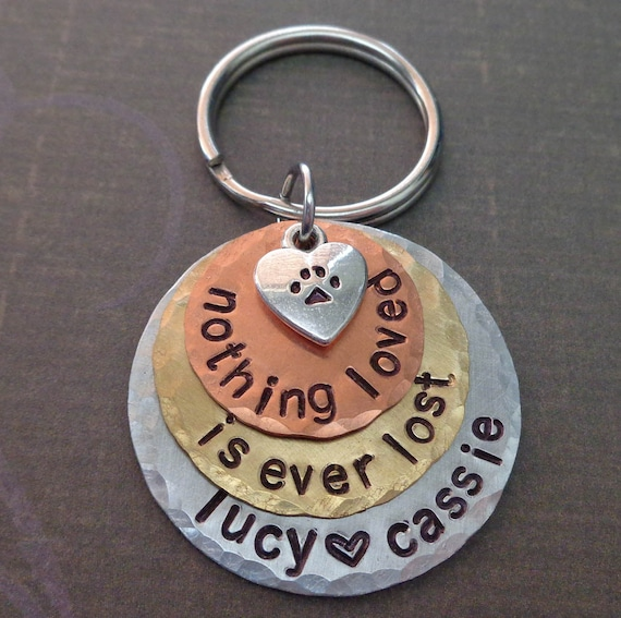 Custom Pet Memorial Keychain Nothing Loved is Ever Lost - Personalized Dog Cat memorial - Custom Pet Names Keychain