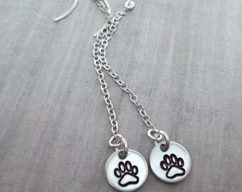 Paw Print Earrings / Silver Paw Print Drops / Long Dog Paw Earrings / Dog Lover Gift / Cat Lover Gift / Paw Print Drops