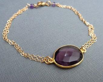 Dainty Amethyst Bracelet / February Birthday Gift / Genuine Gemstone / Gold and Amethyst - GE57