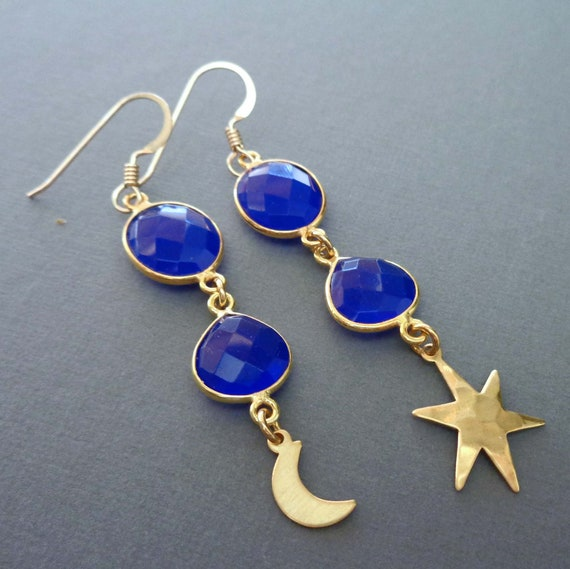 Blue Chalcedony Moon and Star Earrings / Natural Navy Blue Gemstone Drops / Mismatched Earrings //E138