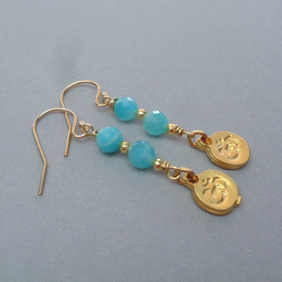 Tiny Om Amazonite Gold Earrings / Blue Gold Earrings / Boho Om Drops / Amazonite Jewelry / Hope Stone