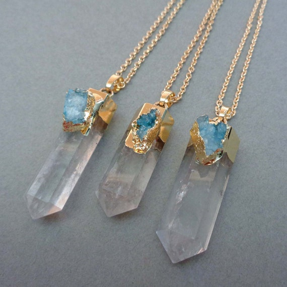 Crystal Pillar with Druzy Necklace / Crystal Point Pendant / Large Clear Crystal / Meditation Boho Jewelry