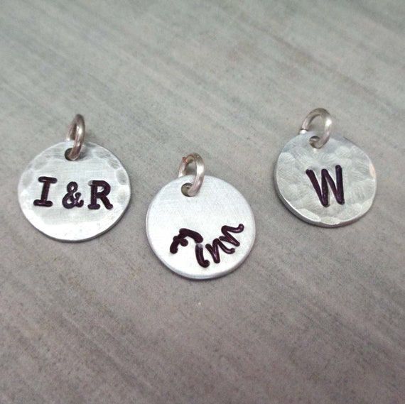Add on Aluminum Charm - Custom Initial Charm - Small Name Charm - Small Aluminum Charm Personalized - Personalized Initial Name