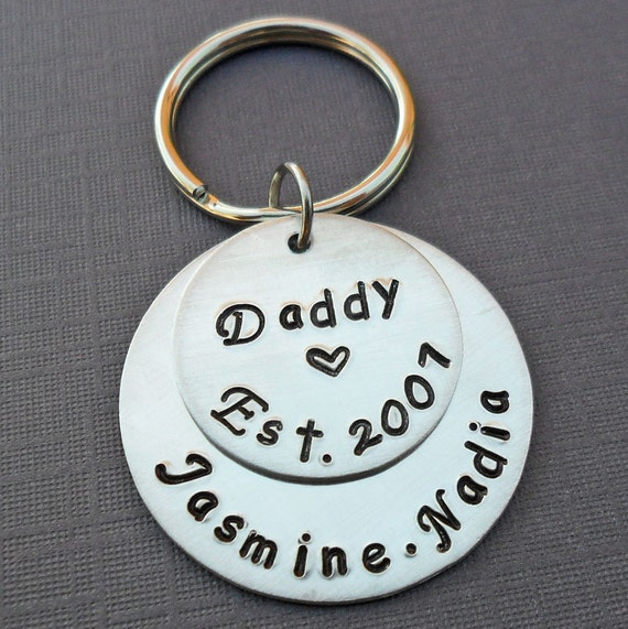 Daddy Est Keychain - Personalized Daddy Dad Keychain -Father Daddy Papa - Hand-Stamped Custom Names