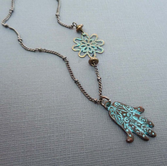 Verdigris Hamsa Necklace / Evil Eye Protection Necklace / Hand of Fatima Pendant