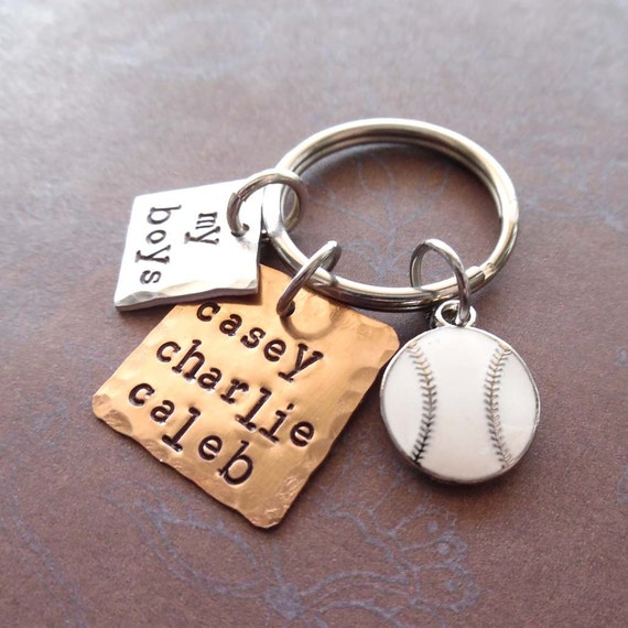 My Baseball Boys Keychain - Personalized Names Baseball - Man Dad Father Mommy gift - My Boys Sport Personalized Keychain