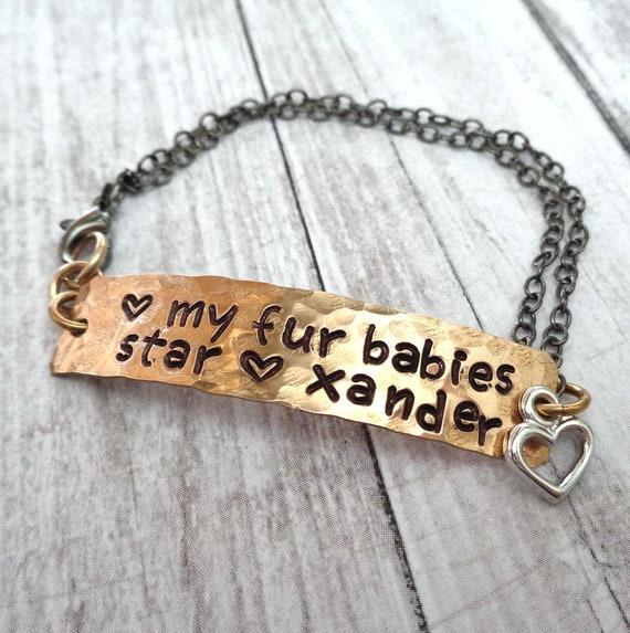 Fur Babies Bracelet - Personalized Pet Name Bar Bracelet - Love my Fur Babies