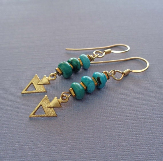 Turquoise Stack Earrings Gold / Geometric Triangle Earrings / Genuine Turquoise Jewelry / Small Turquoise Earrings