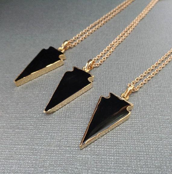 Black Onyx Arrowhead Necklace / Protection Stone / Natural Onyx / Healing Stone