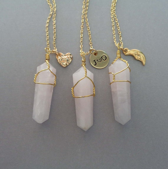 Rose Quartz Point Necklace /  Pink Love Stone / Personalized Initials / Valentines Gift / Heart Moon Charm
