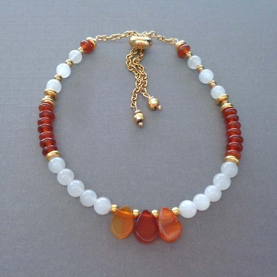 Moonstone Carnelian Bracelet / Beaded Carnelian Jewelry / Colorful Moonstone Bracelet / White Orange Jewelry