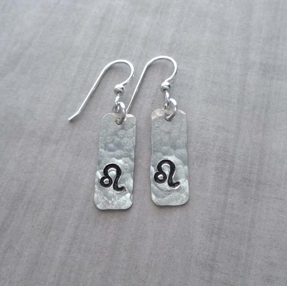 Zodiac Earrings /Sterling Silver Your Sign Bar Earrings / Horoscope Sagittarius Libra Aries Leo / Silver Bar Earring