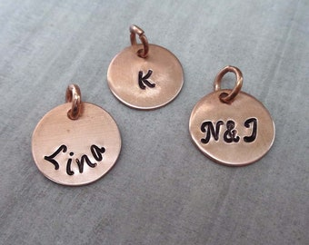 Add on Copper Charm - Custom Initial Charm - Small Name Charm - Small Copper Charm Personalized Initial or Name