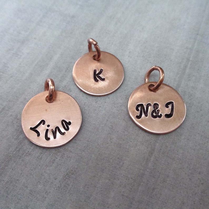 Add on Copper Charm  Custom Initial Charm  Small Name Charm image 0