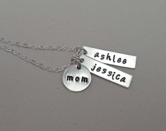 Mom Bar Necklace / Custom Kids Names / Silver Bar Necklace / Mothers Day Gift / Personalized Names Necklace