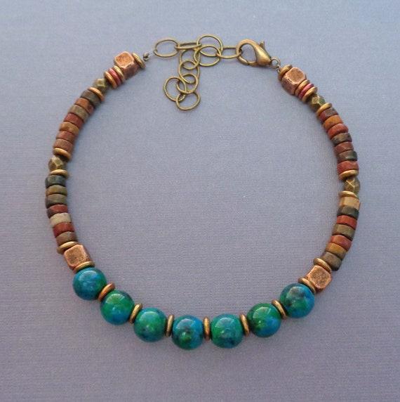 Azurite and Jasper Bracelet / Red Creek Jasper / Azurite Jewelry / Earthy Jewelry / Third Eye Stone / Grounding Stone