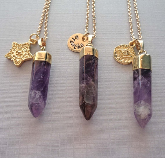 Gold Amethyst Pendant Necklace / February Birthday Gift / Crown Chakra Stone / Personalized Name Word /Healing Worry Stone