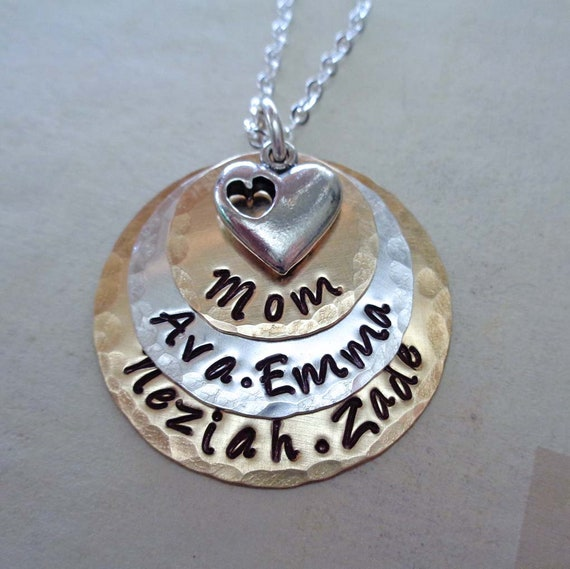Stacked Mom Necklace - Personalized Names - Mixed Metals and Heart - Mothers Day Gift - Mom Jewelry