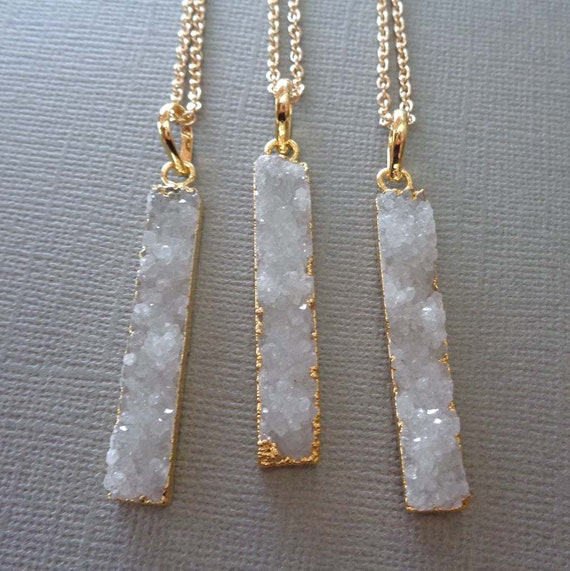 White Druzy Bar Necklace / Gold Edge White Druzy / Drusy Jewelry / Sparkly Stone Bar Necklace