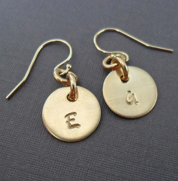 Custom Gold Initial Earrings  - Personalized Initials - Minimal Gold Fill Earrings - Hand stamped Jewelry- Gold Gift for Her -  E121