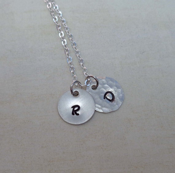 Sterling Silver Initials Necklace / Minimalist Jewelry / Your Initial / Friendship Gift / Monogram