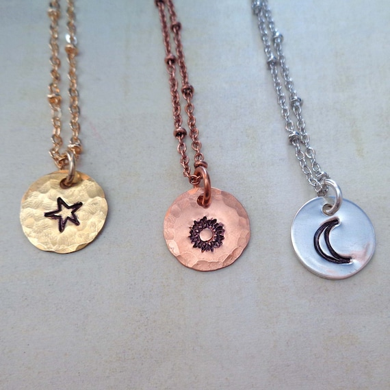 Celestial Bodies Charm Necklace / Sun Moon Star Jewelry / Sterling Silver Small Sun Moon Star