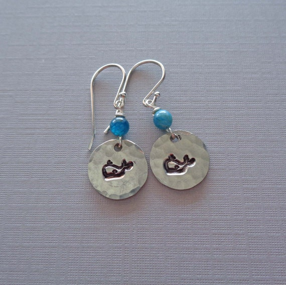 Cute Whale Earrings / Stamped Whale Earrings Blue Apatite / Save the Whales Gift / Marine Earrings