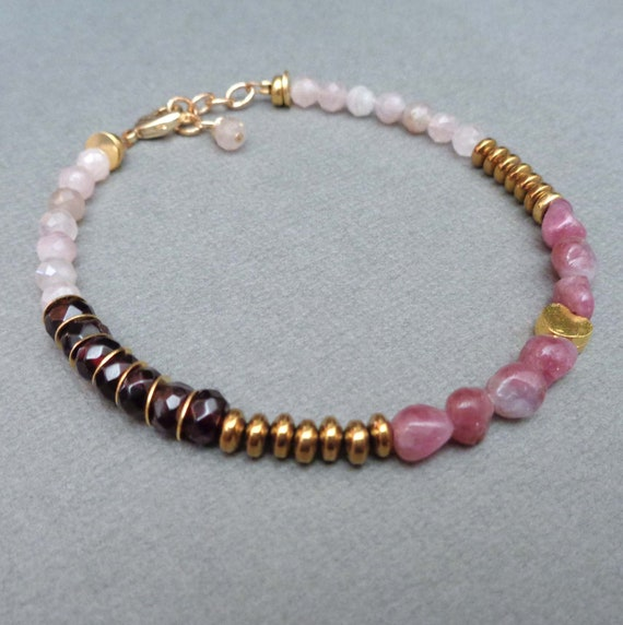 Love Bracelet / Garnet Pink Tourmaline Rose Quartz Gold / Looking for Love Intention Jewelry