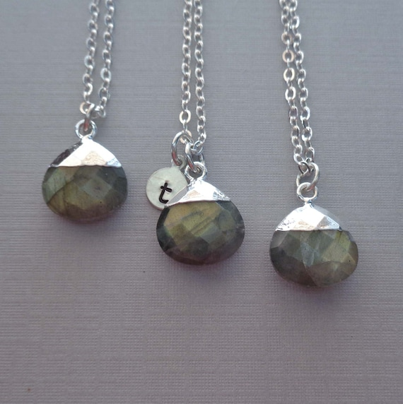 Personalized Labradorite Sterling Silver Necklace / Custom Initial / Natural Gemstone / Crystal Gift for Her
