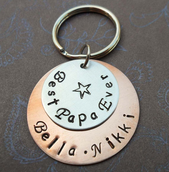 Best Papa Ever Keychain - Father Dad - Hand-Stamped Custom Names -Personalized Keychain