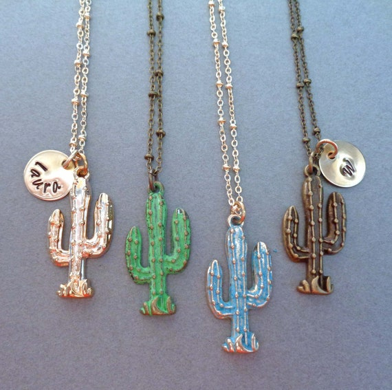 Personalized Cactus Necklace / Saguaro Desert Plant Pendant / Arizona Jewelry / Southwestern Jewelry