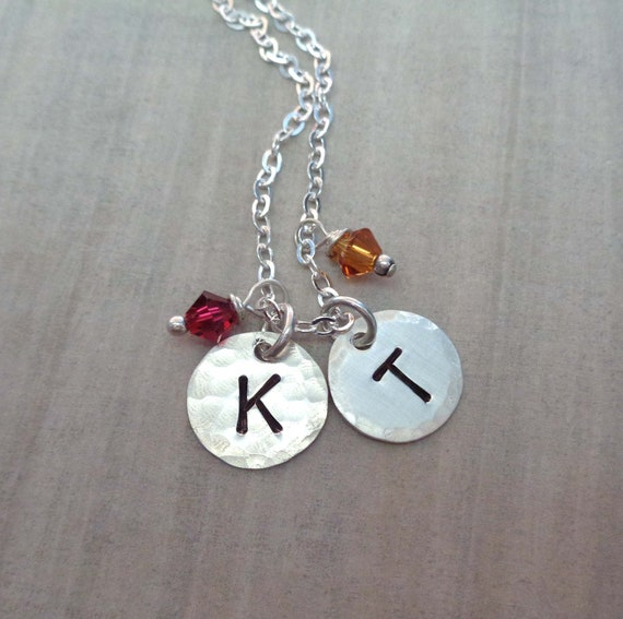 Large Sterling Silver Initial Necklace with Crystal Birthstones / Personalized Initial / Gift for Mom