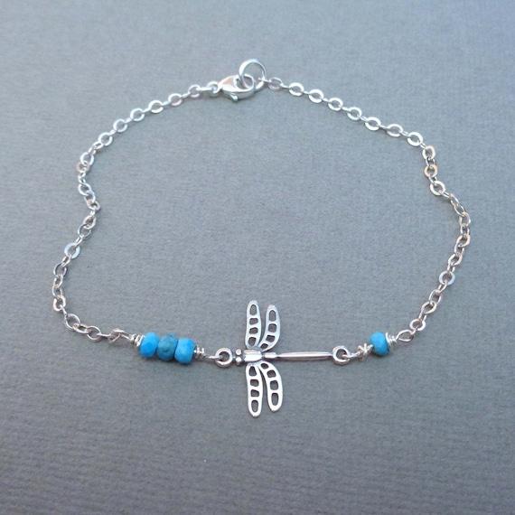 Sterling Silver Dragonfly Bracelet / Dainty Dragonfly Jewelry / Gemstone Birthstone Dragonfly Bracelet