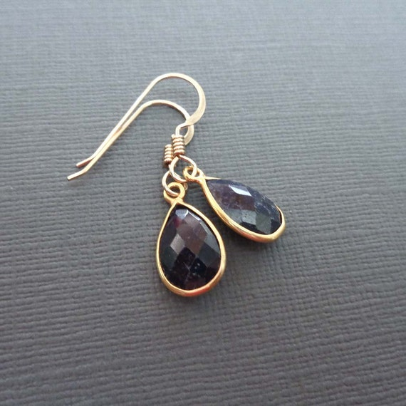 Blue Sapphire Gold-Fill Earrings - September Birthstone Gift - 5year Anniversary Stone
