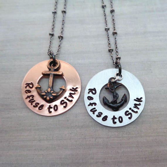 Refuse to Sink Necklace / Anchor Necklace / Empowerment Women / Mantra Affirmation Jewelry