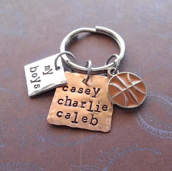 My Basketball Boys Keychain - Personalized Names - Man Dad Father Mommy gift - My Boys Sport Keychain