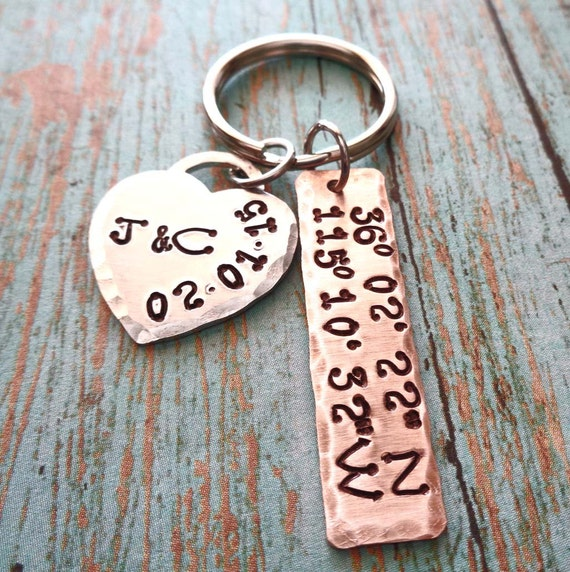 Anniversary Keychain - Valentines Gift for Him - Latitude Longitude Keychain - Wedding Location Bride Groom Gift
