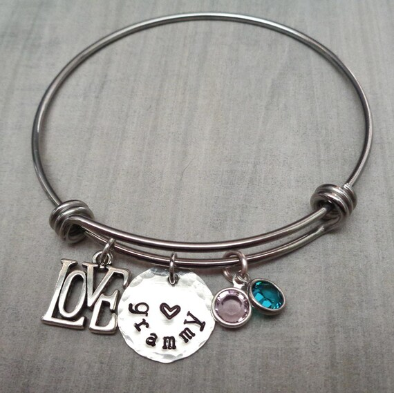 Love You Grammy Birthstone Bangle Bracelet - Personalized Bracelet Birthstones - Gift for Grandma- Mother's Day Gift -Adjustable Bangle -B42
