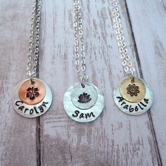 Personalized Flower Necklace / Custom Name / Friendship Gift / Peony Hibiscus Lotus Stamped Jewelry / Friend Gift