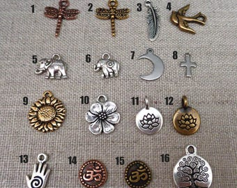 Add-on Charm - Dragonfly Charm, Sunflower, Lotus, Elephant Charm,  Moon, Tree of Life Add on Charm, Feather, Bird Charm
