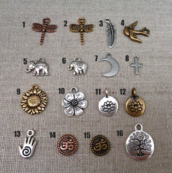 Add-on Charm - Dragonfly Charm, Sunflower, Lotus, Elephant Charm,  Moon, Tree of Life Add on Charm, Feather, Bird Charm