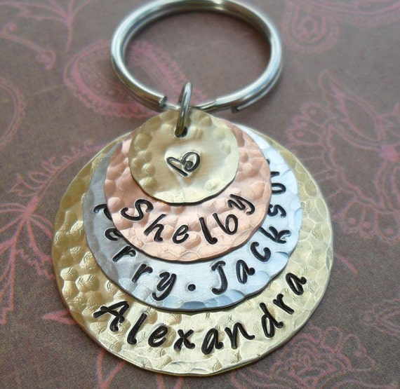Love Stack Keychain - Personalized Hand Stamped Keychain - Custom Names Words Dates