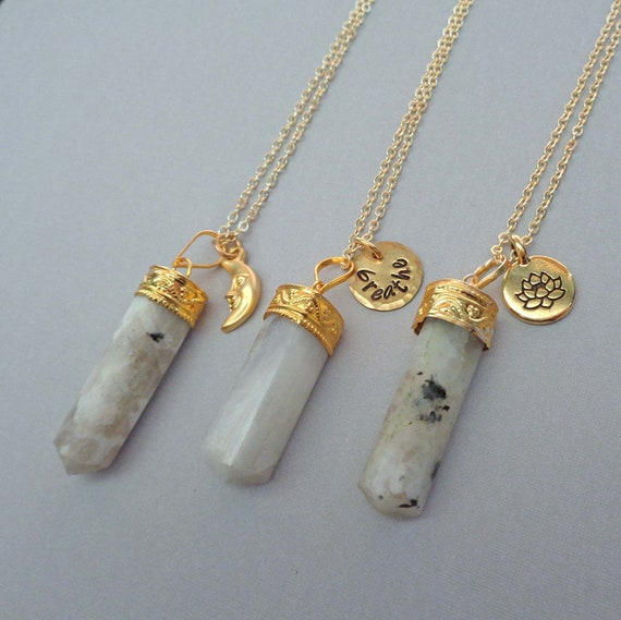 Rainbow Moonstone Point Gold Necklace / Gemini Stone / Moon Lotus / Personalized Initial Name Word / Fertility Stone