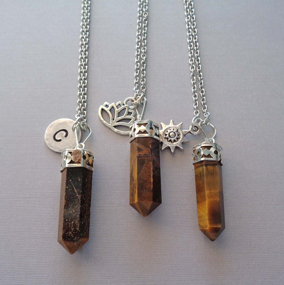 Tiger Eye Point Necklace / Lotus Sun Charm / Custom Initial Word / Tiger Eye Pendant / Strength Stone