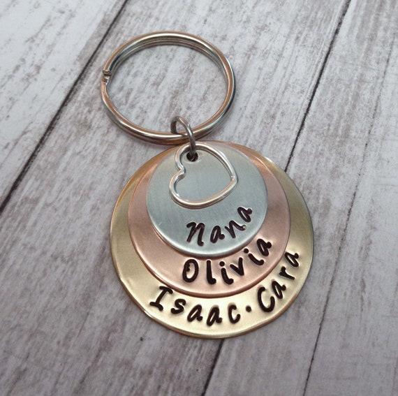 Nana Love Stacked Keychain - Personalized Names Hand Stamped Keychain- Grandma Mom Keychain
