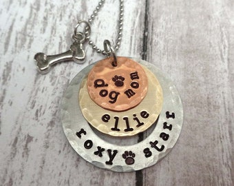 Dog Mom Necklace - Fur Mama Gift -  Personalized Pet Names - Dog Mama Gift - Pet Lover Necklace My Fur babies